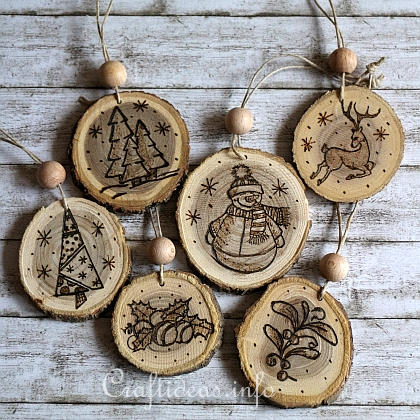 Wood Burned Christmas Ornaments 1