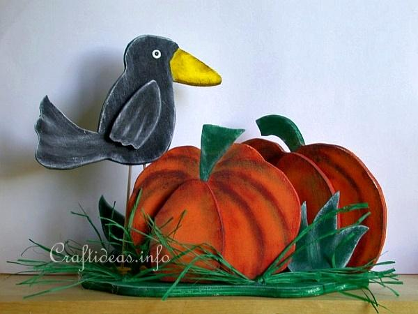 Wood Craft for Autumn - Wooden Crow Shelf Decoration