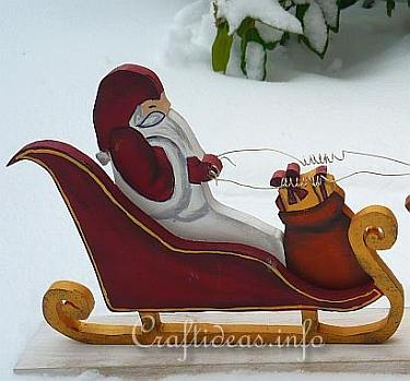 Wood Craft for Christmas - Santa Sleigh and Reindeer 1