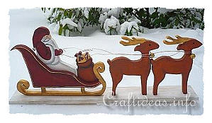 Wood Craft for Christmas - Santa Sleigh and Reindeer