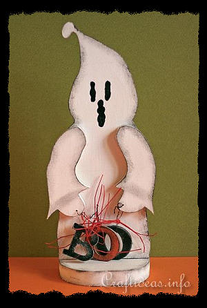 Wood Craft for Halloween - Boo Ghost