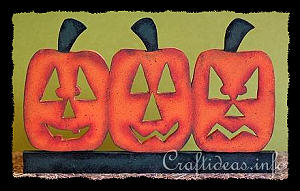Wood Craft for Halloween - Wooden Jack o' Lantern Trio Shelf Decoration