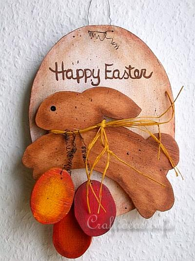 Wood Craft for Spring and Easter - Wooden Country Easter Bunny Plaque with Easter Eggs