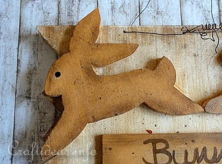 Wood Craft for Spring and Easter - Wooden Sign with Crossing Bunny 3