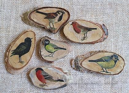 Wood craft wood slice refrigerator magnets with birds motifs for Wood slice craft projects