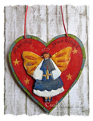 Wooden Heart with 3-D Angel Motif - Paper Napkin Applique Decoupage