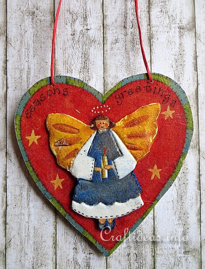 Wooden Heart with 3-D Angel Motif - Paper Napkin Applique Decoupage 400