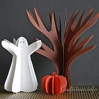 3-D Paper Tree, Pumpkin and Ghost
