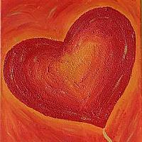 Acrylic Painting with Red Heart Motif