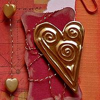 Artist Trading Card with Gold Embossed Heart Embellishment