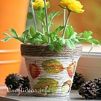 Autumn Terracotta Pot Covered With Jute Cord