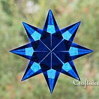 Blue Origami Folded Transparent Star