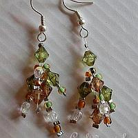 Brown and Green Beaded Earrings