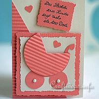 Card for the birth of a baby - Baby Carriage Card in Peach Color