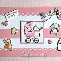 Card for the birth of a baby - Baby Carriage Card in Pink Color