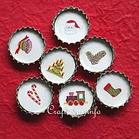 Christmas Bottle Cap Decorations or Magnets