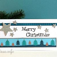 Christmas Card With Stars and Trees