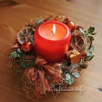 Christmas Table Wreath with Copper Colored Decoration