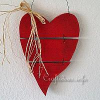 Country Red Wooden Heart