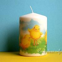 Decoupage Candle with Easter Chick Motif