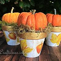 Decoupaged Autumn Clay Pots