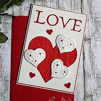 Embossed Hearts Valentine's Day or Anniversary Card