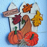 Fall Wood Welcome Sign with Pumpkins and Leaves