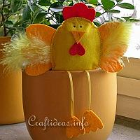 Felt Hen Flower Pot Sitter