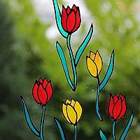 200 Glass Cling Tulips
