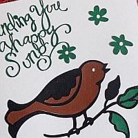 Greeting Card with Singing Bird