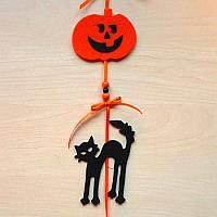 Halloween Die Cut Cat and Pumpkin Garland