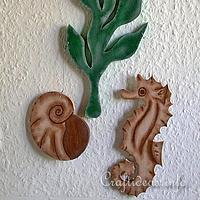 Maritime Dekoration with Seahorse, Seaweed and Seashell