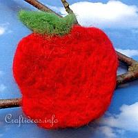 Needle Felted Apple Brooch or Lapel Pin