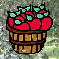 Paper Apple Basket Window Decoration
