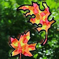 Paper Autumn Leaves Window Decorations