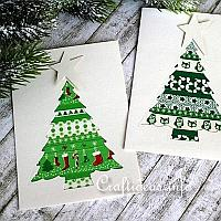 Patchwork Christmas Tree Greeting Cards for the Holidays