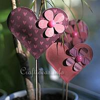 Puffy Paper Hearts Plant Sticks