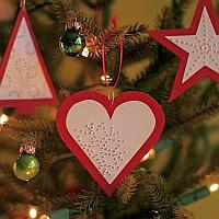 Red Needle Pricked Paper Ornaments