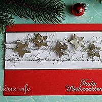Red with Silver Stars Greeting Card for the Holidays