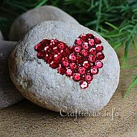 Sequins Heart Stone Paperweight