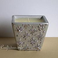 Silver Colored Glittery Candle Holder