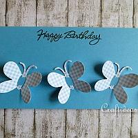 Spring Card - Blue Card with Butterflies
