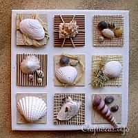 Summer Canvas with Seashells Inchies