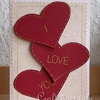 Valentine's Day Card - I Love You Card with Red Hearts