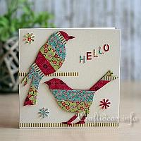 Washi Tape Bird Greeting Card