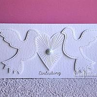 Wedding Card or Invitation with Doves and Heart