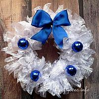 White Wreath with Blue Decoration