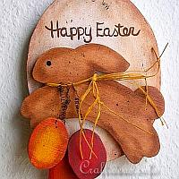 Wooden Country Easter Bunny Plaque with Easter Eggs