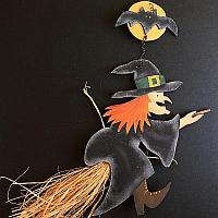 Wooden Halloween Witch Wall Decoration
