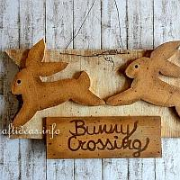 Wooden Sign with Crossing Bunny